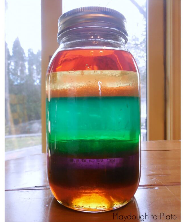 Rainbow in a Jar science experiment