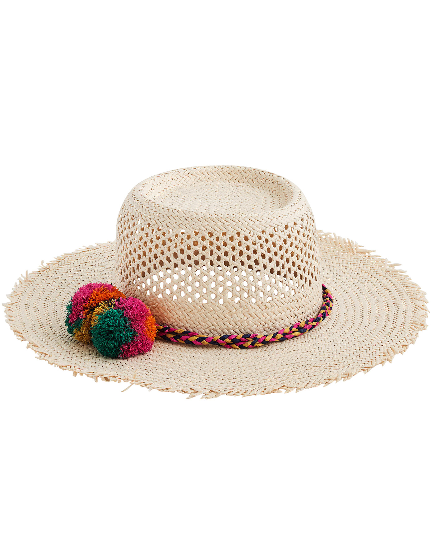 J. Crew Straw Hat with Rainbow Pom Poms
