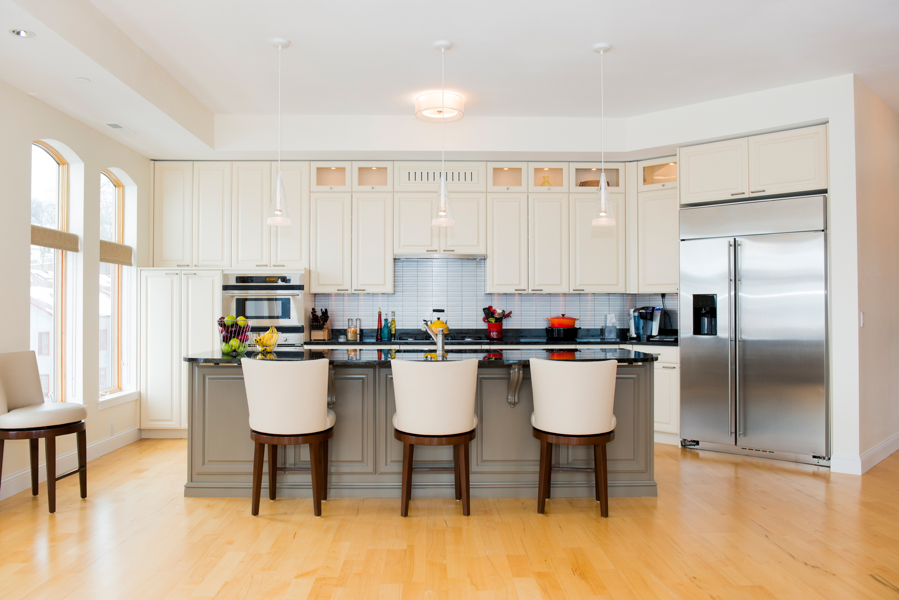 Refinishing or Replacing kitchen cabinets white and gray kitchen