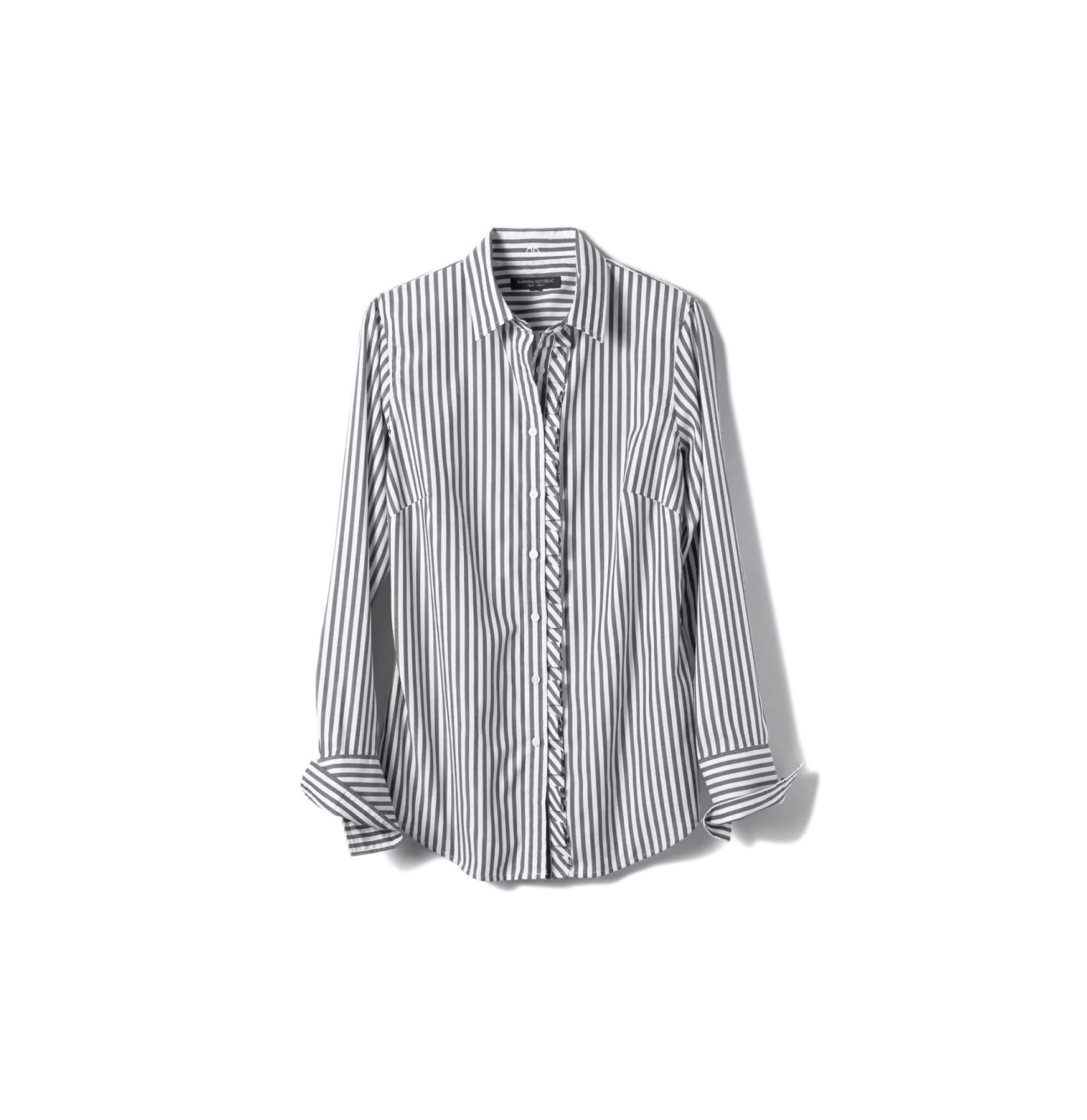 Riley-Fit Asymmetrical Ruffle Pleat Shirt