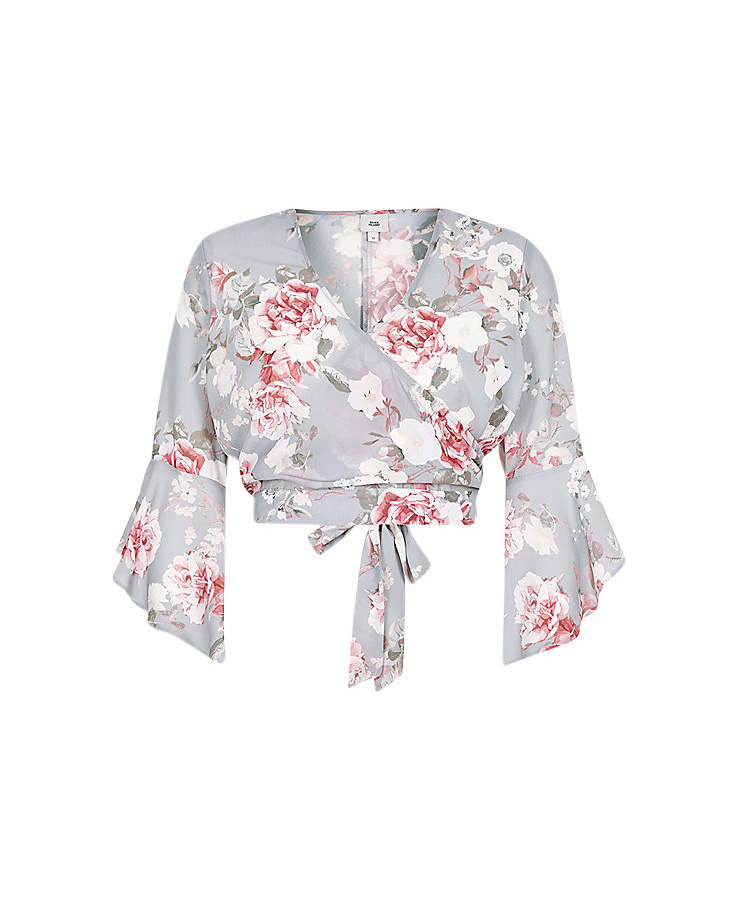 River Island Floral Wrap Frill Sleeve Crop Top