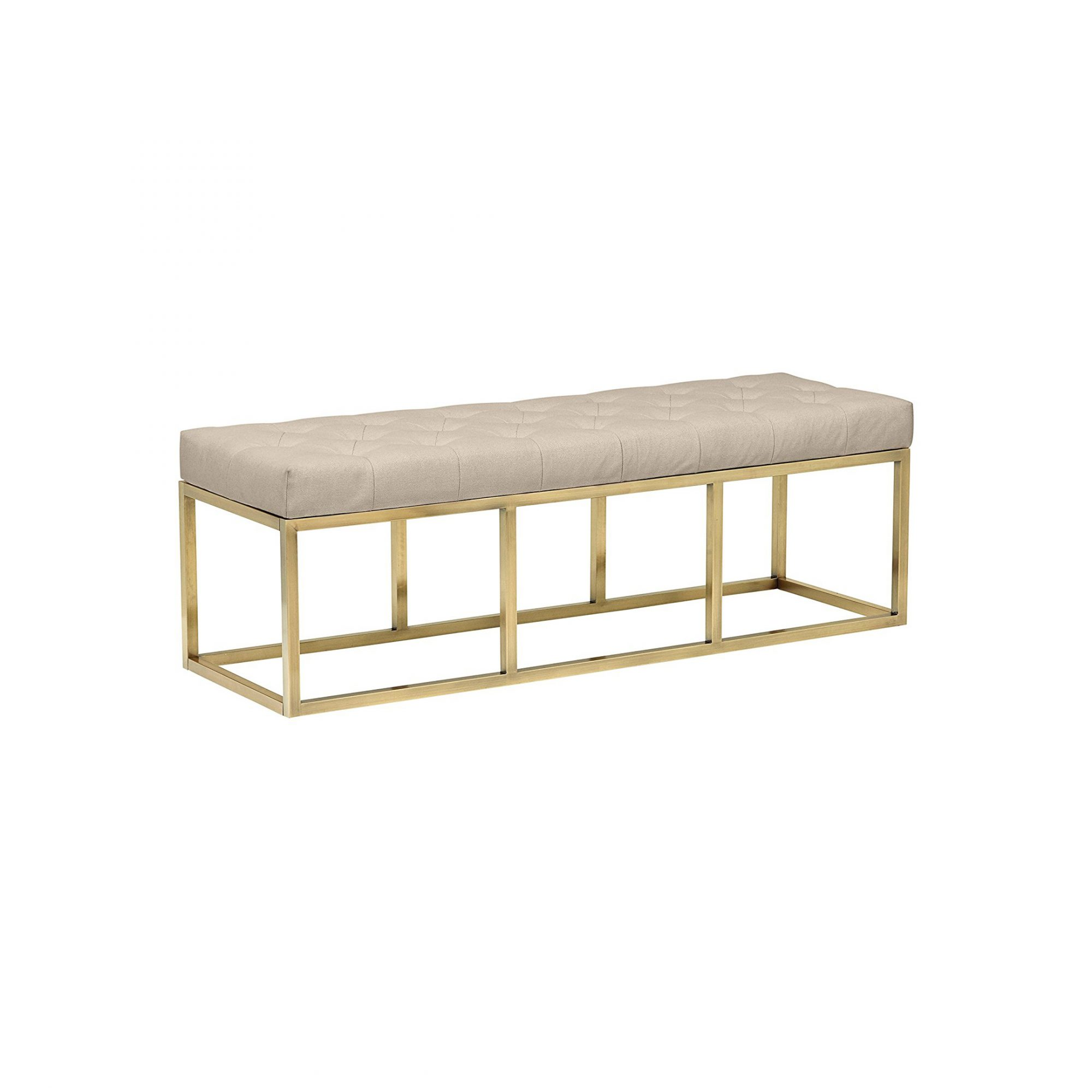 Rivet Glam Tufted Seat and Gold Legs Upholstered Bench