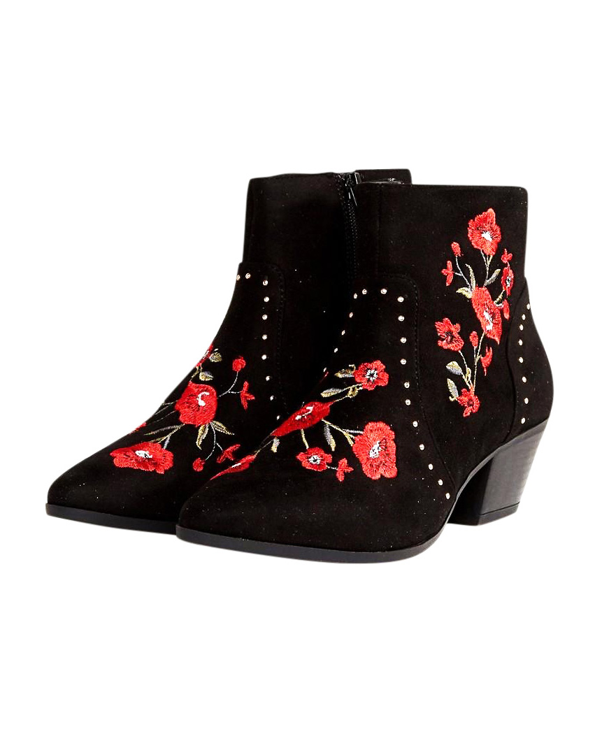 New Look Festival Rose Embroidered Ankle Boots