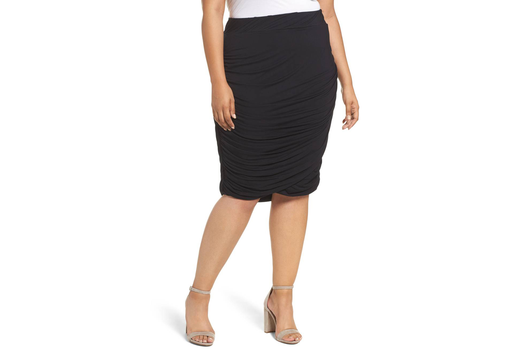 Ruched Jersey Knit Skirt