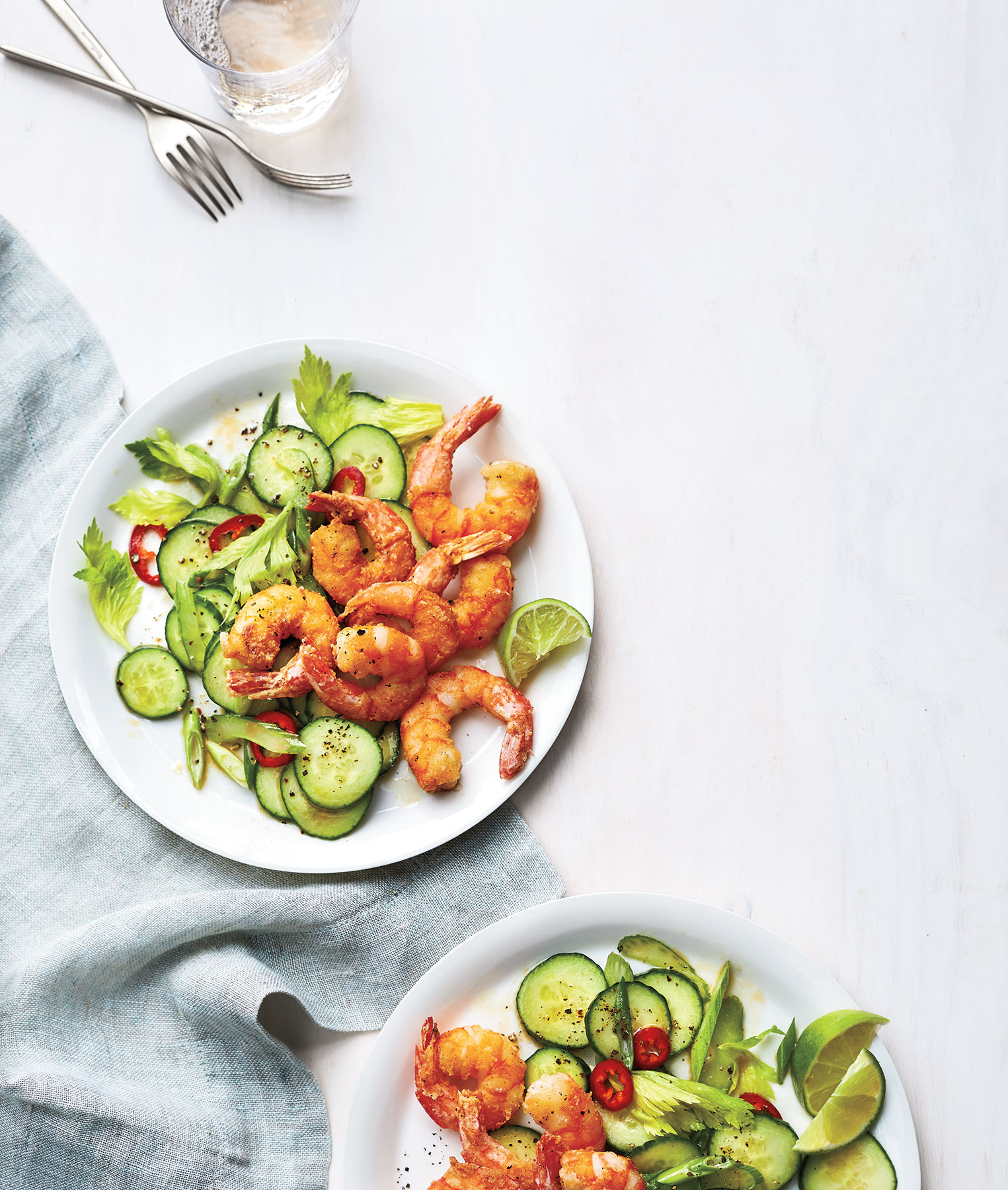 Salt-and-Pepper Shrimp With Cucumber Salad (0618DIN)
