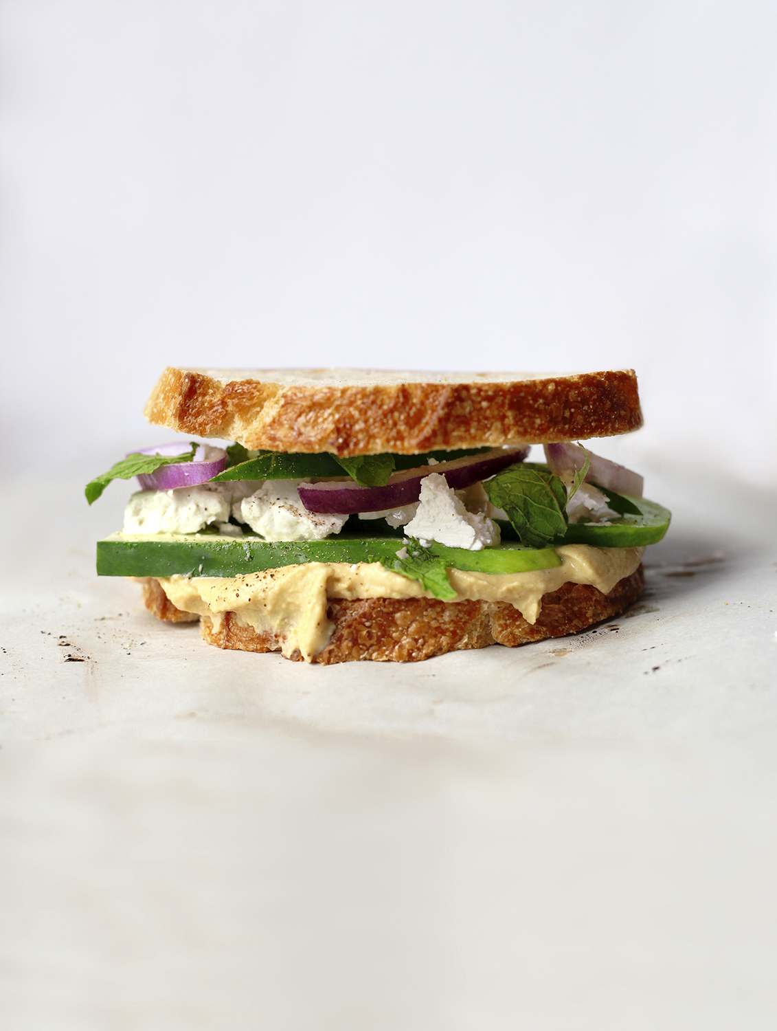 Hummus, Feta, Cucumber and Mint Sandwich