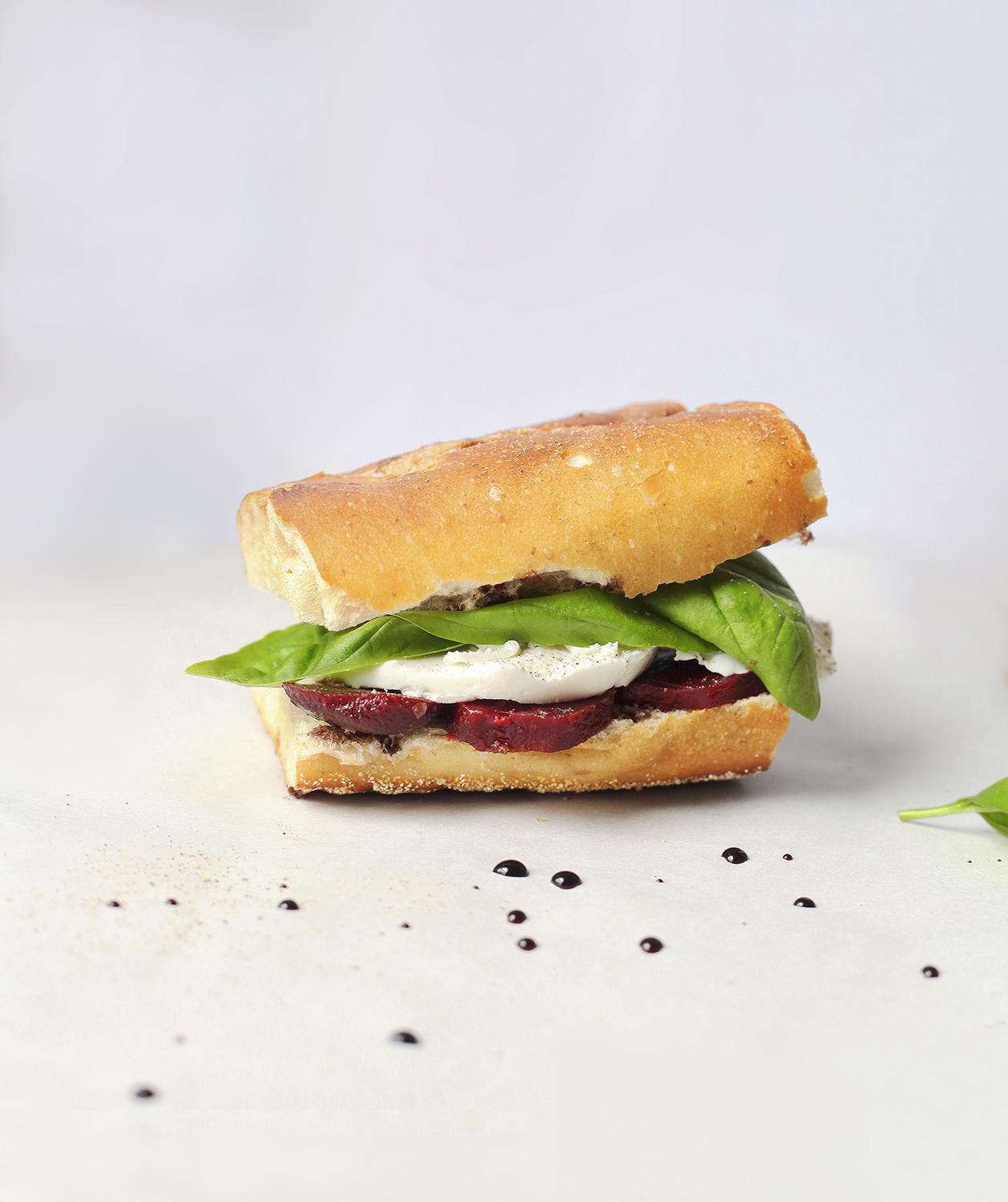 Fresh Mozzarella, Beet, and Basil Sandwich