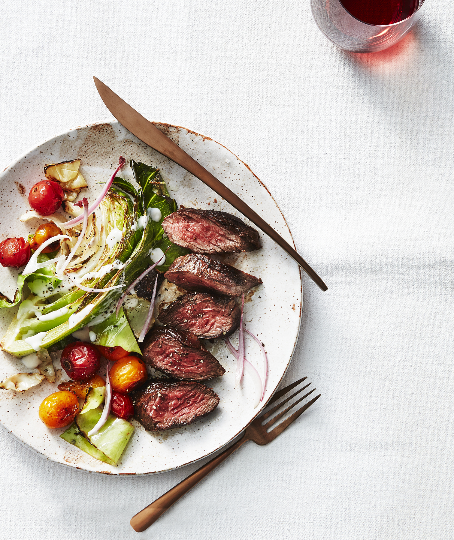 Seared Hanger Steak and Warm Cabbage Wedges