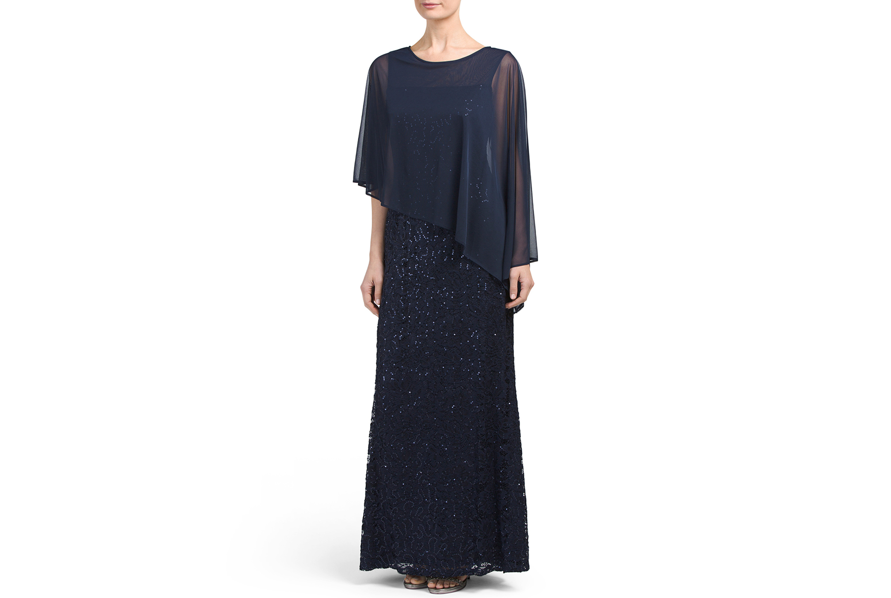 Onyx Nite Long Sequin Lace Illusion Gown