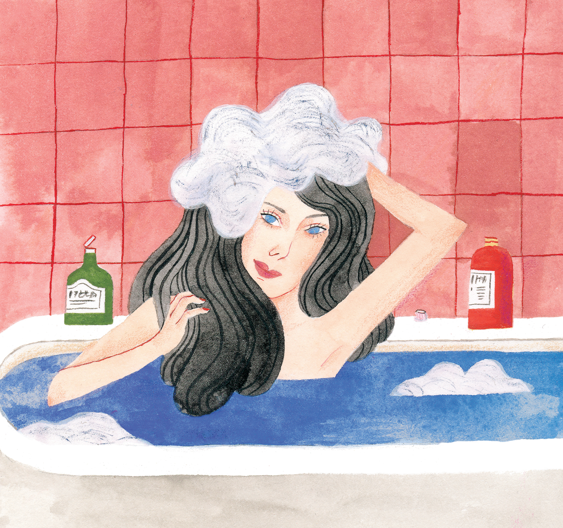 illustration of woman washing her hair in the bath