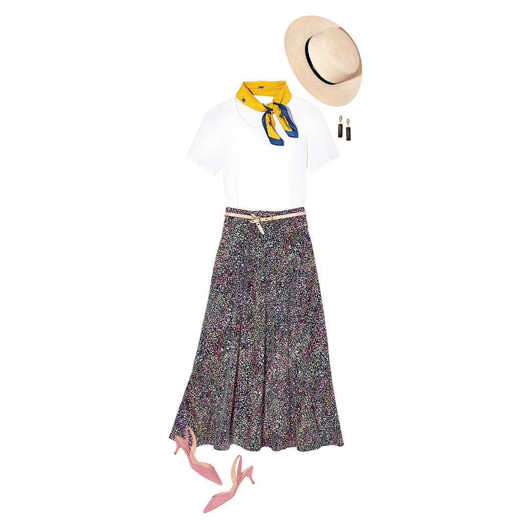 Start With the Tee add a Pretty Skirt and a Scarf