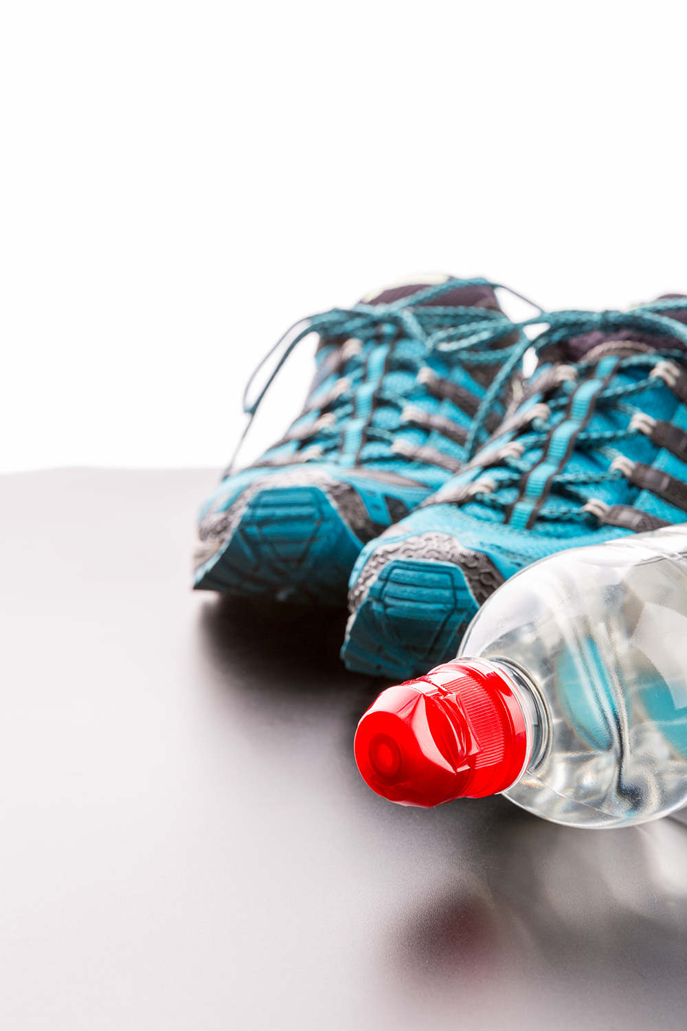Fitness shoes and bottled water