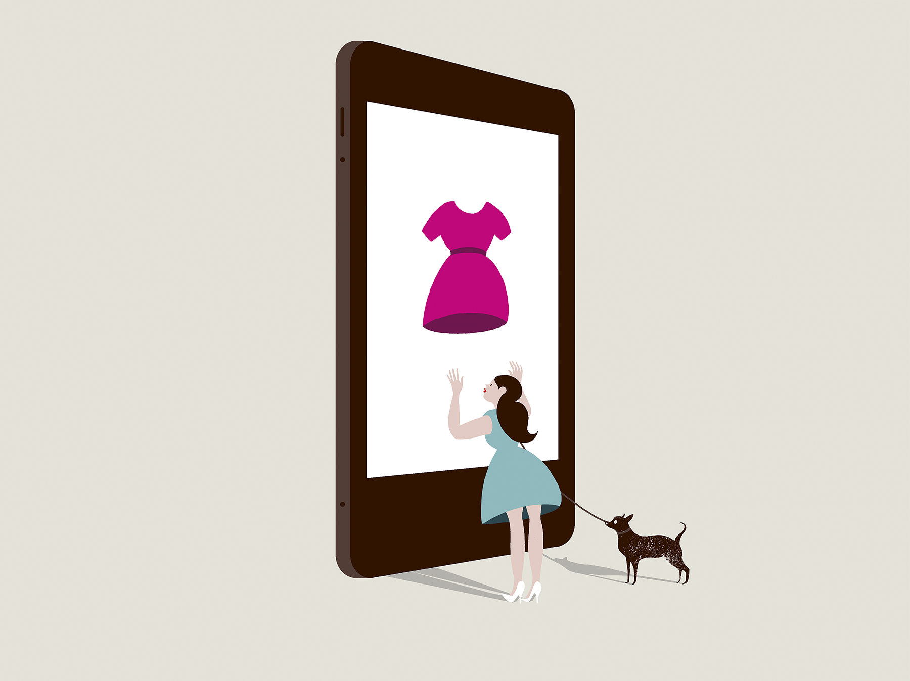 Illustration: woman looking at dress on giant iPad