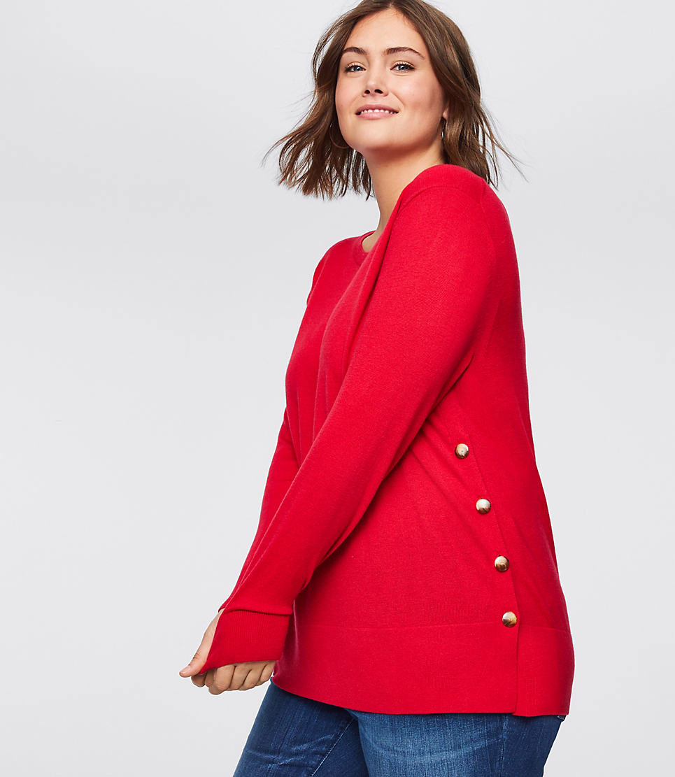 LOFT Plus Side Button Tunic Sweater
