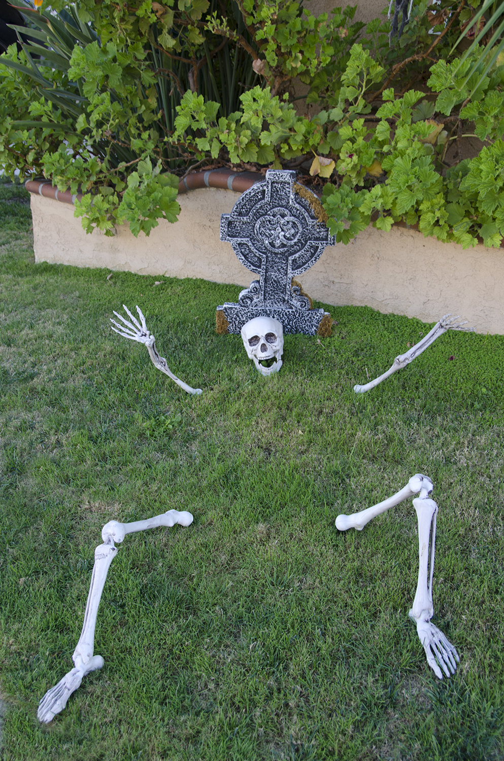Skeleton and fake tombstone in yard