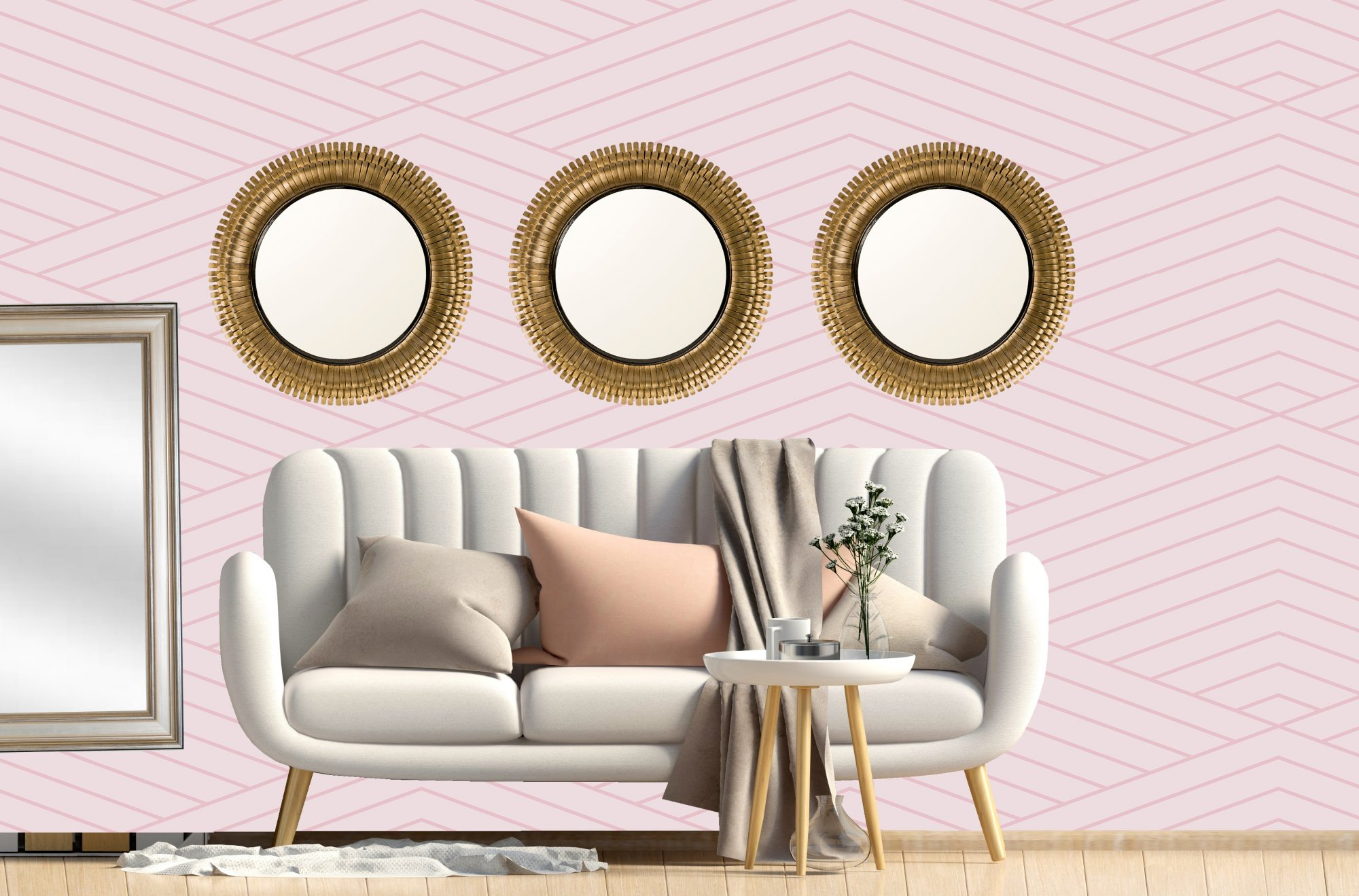 How to Make a Small Room Look Bigger, couch with mirrors in living room