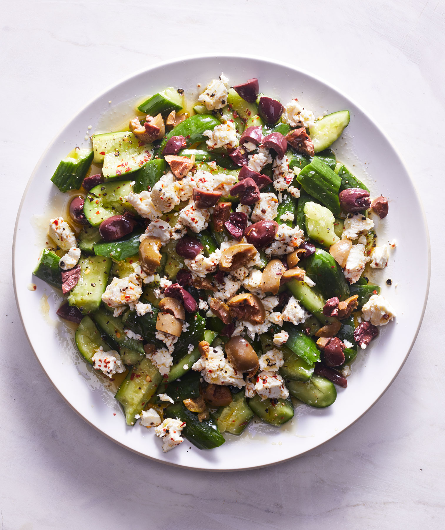 Smashed Cucumber Salad With Spicy Feta and Olives (5-Ingredient Salads)