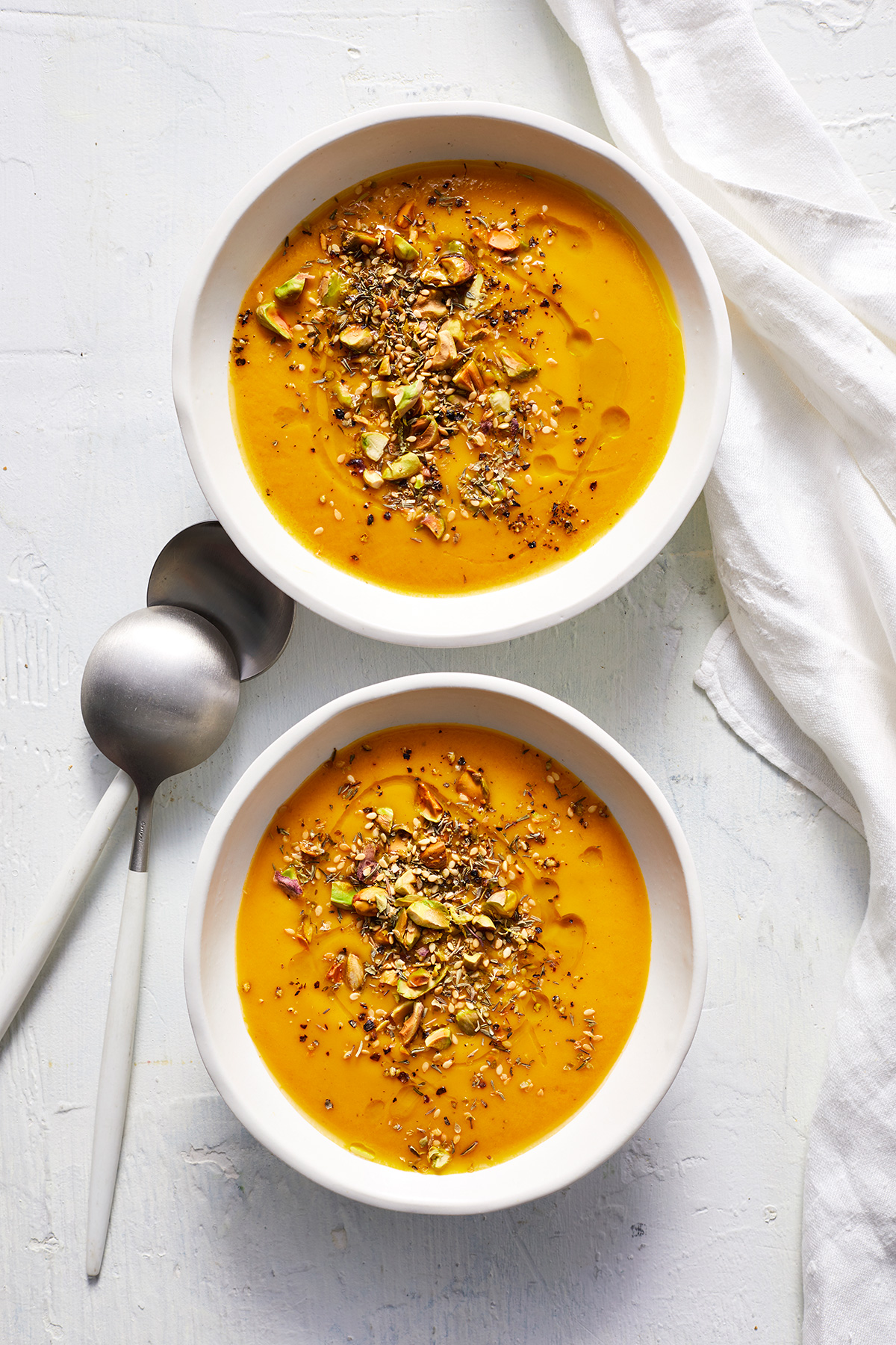 Spiced Sweet Potato Soup With Pistachio-Seed Topping