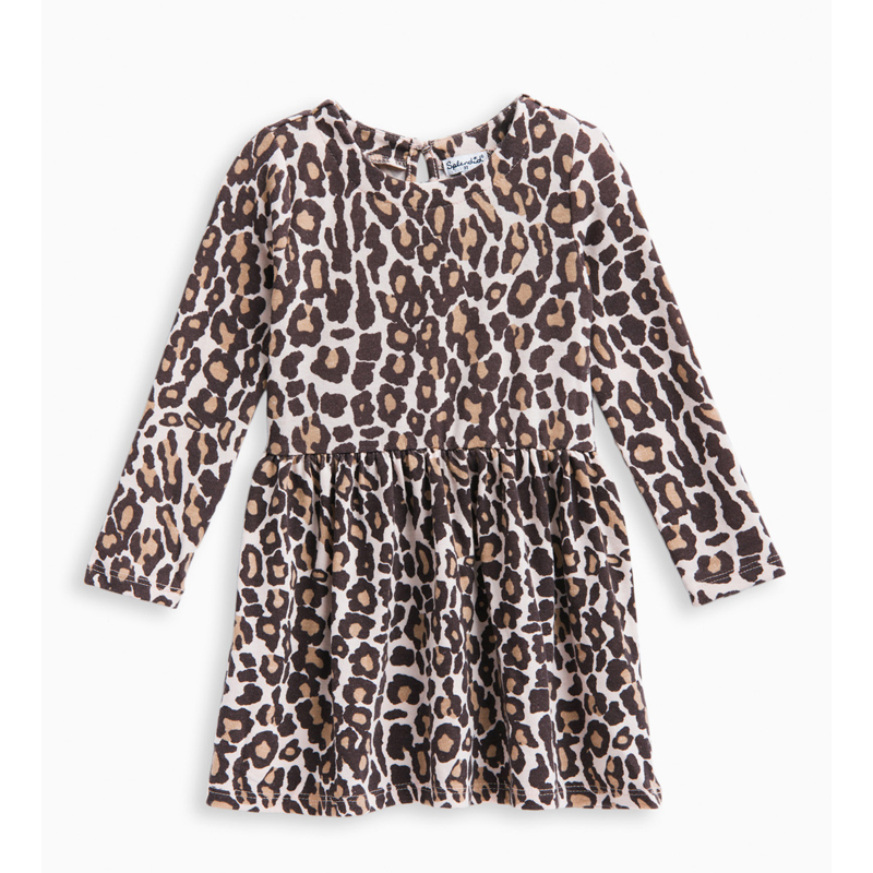 Little Girl Animal Print Loose Knit Dress