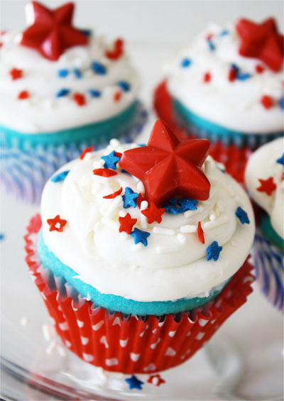 Red, White and Blue Cupcakes with Candy Star Toppers