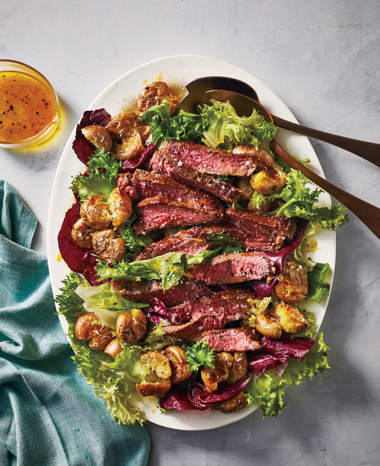 Easy Dinner Recipes: Steak Salad With Crispy Potatoes and Lemon-Parmesan Dressing