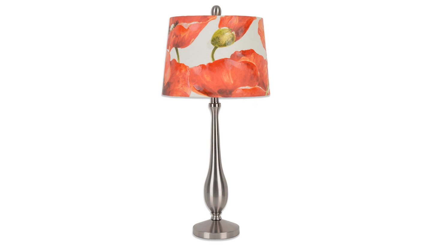 Brushed Steel Table Lamp with Red Poppy Shade