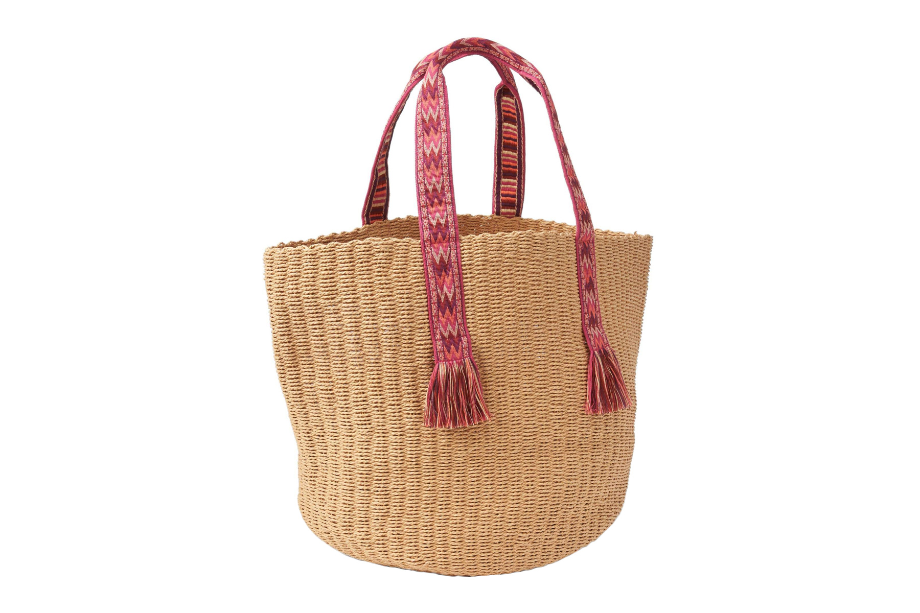 Web Handle Straw Tote