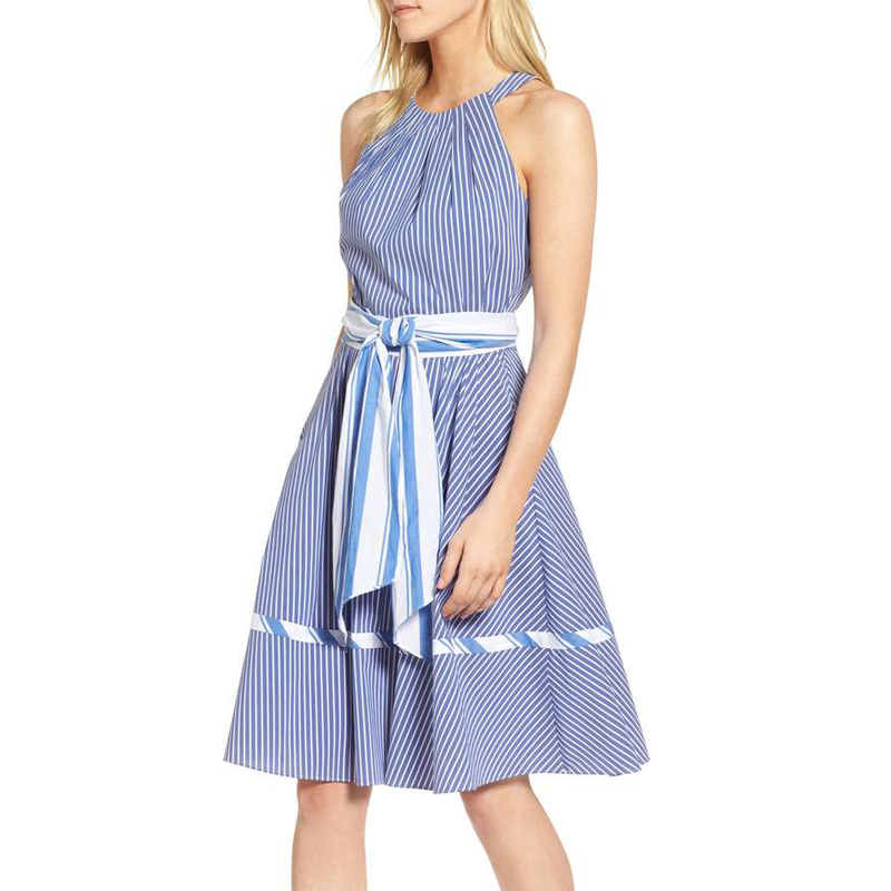 1901 Stripe Halter Fit & Flare Dress