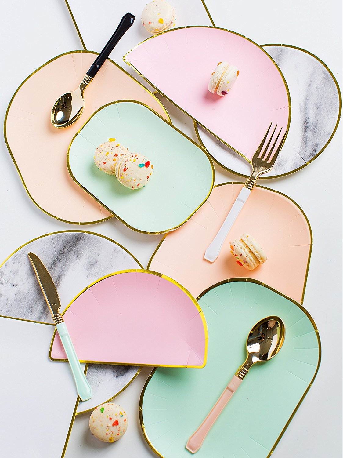 Sugar & Cloth Paper Plates in pink and green and white