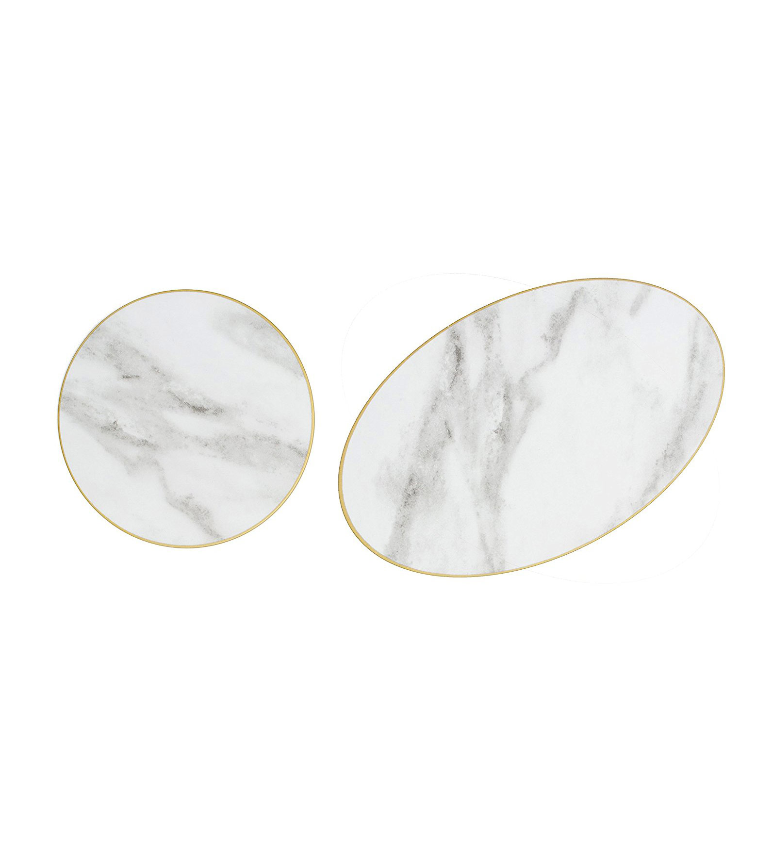 Sugar & Cloth Round and Oval Marble Melamine Serving Trays