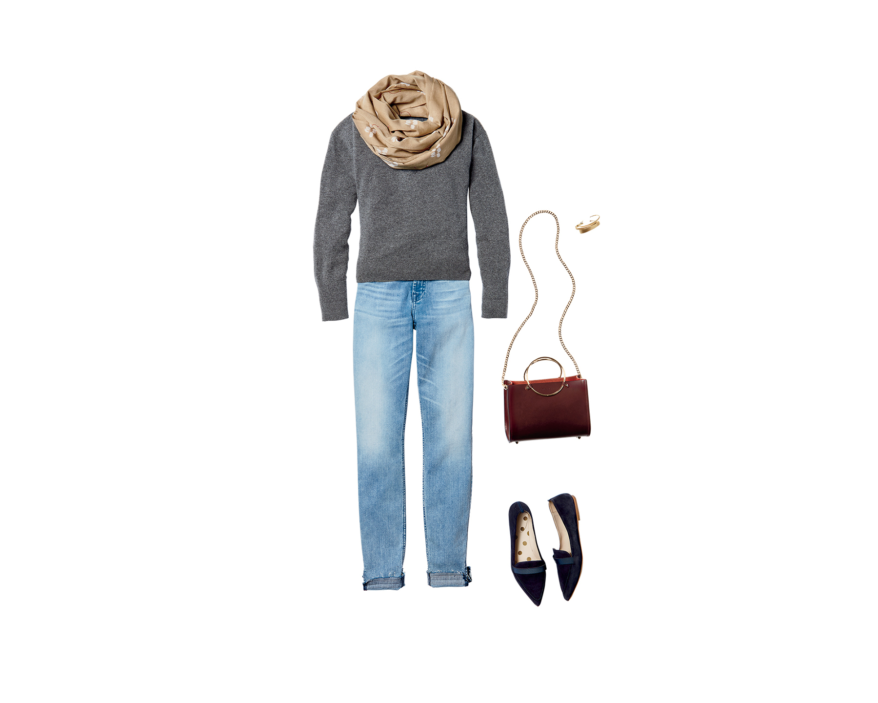 Sweater + Jeans + Flats (0418STY)