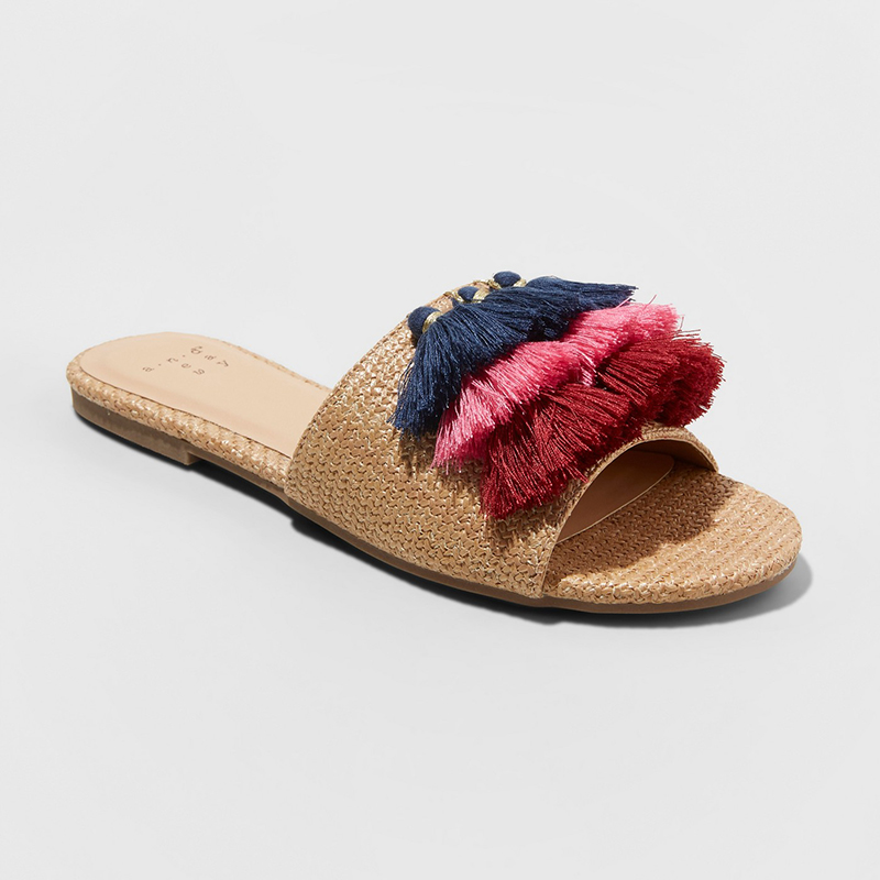 A New Day Ayana Raffia Tassle Slide Sandals