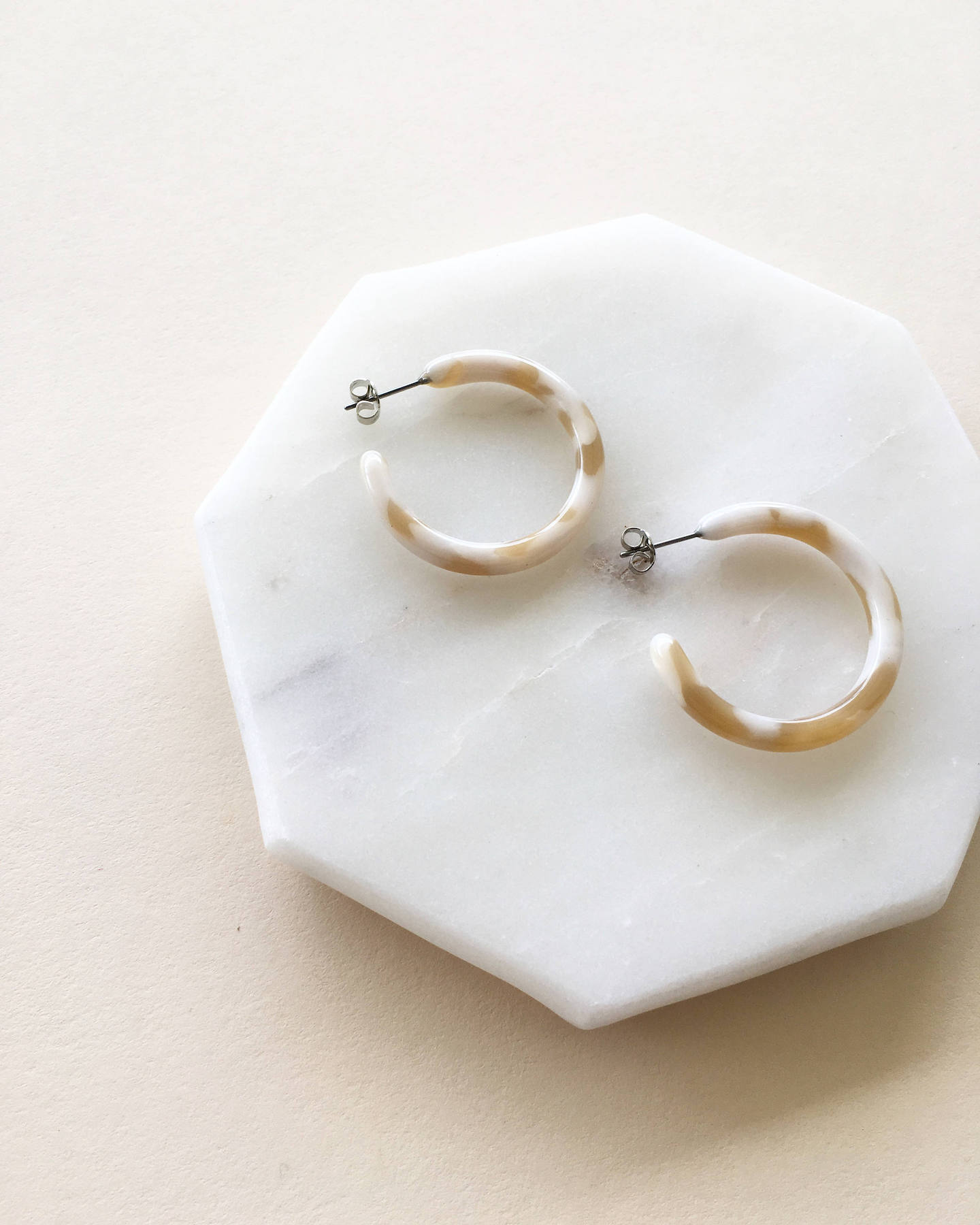Taupe Shell Mini Hoop Earrings