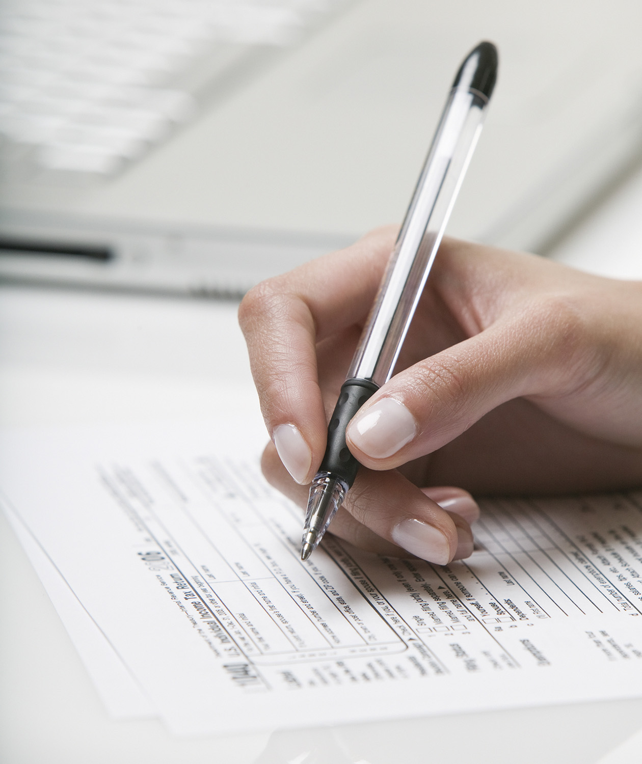 Fillng out a tax form