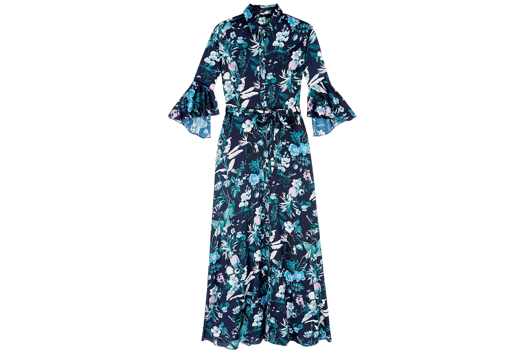 Banana Republic Teal Floral Printed Maxi Dress