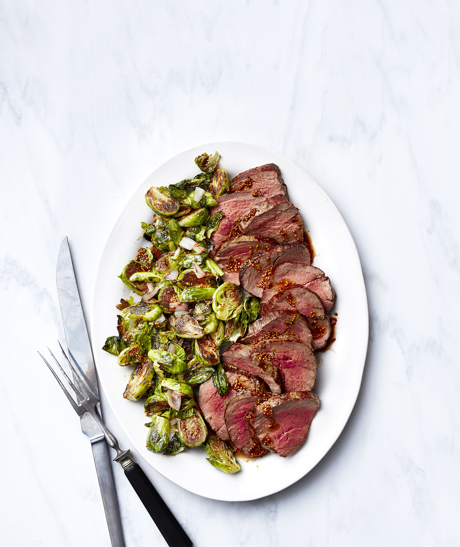 Sheet Pan Beef Tenderloin With Brussels Sprouts And Shallots