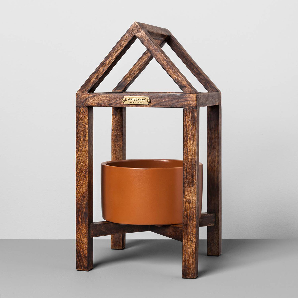 Terracotta and Wood House Plant Stand