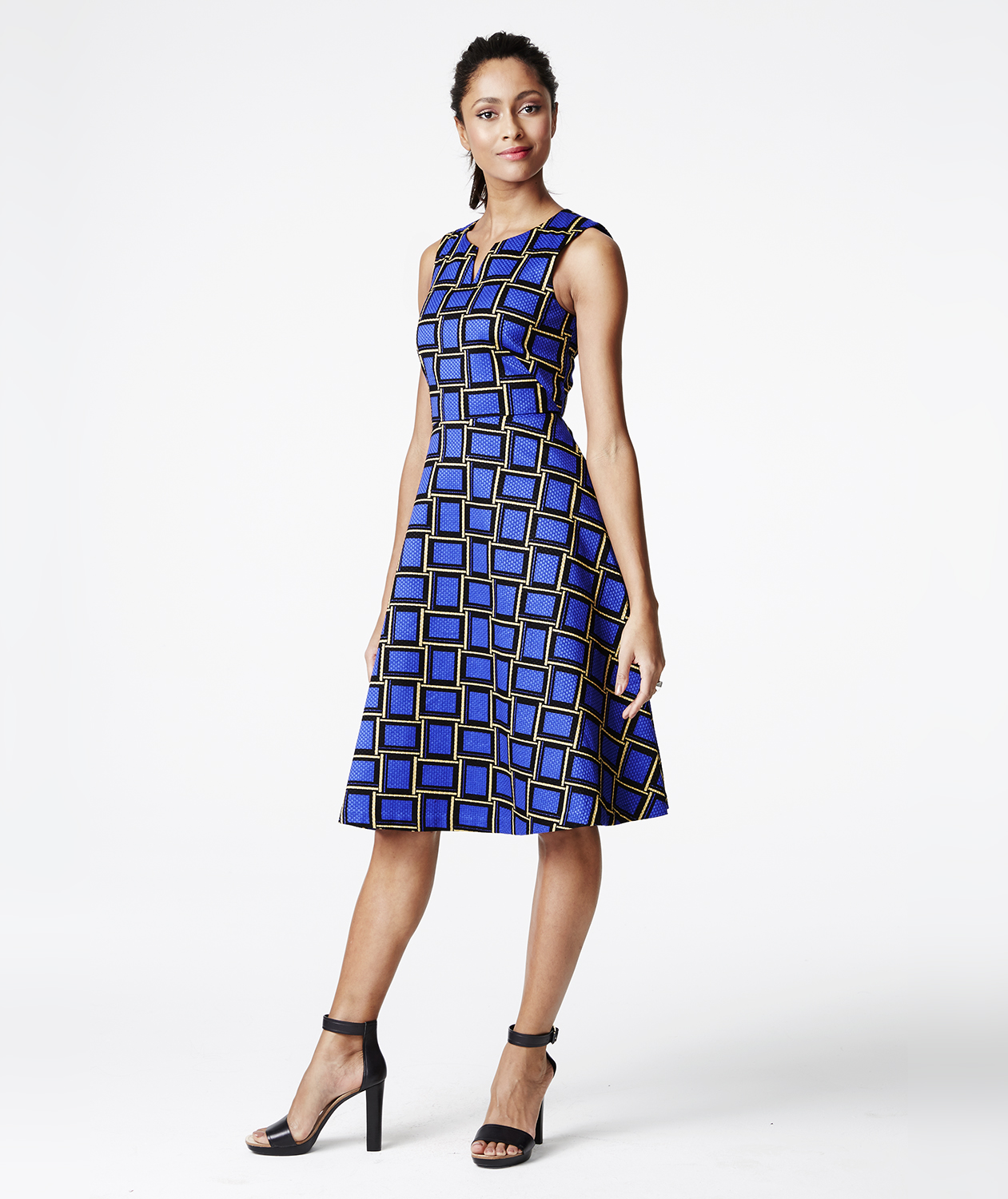The Limited Printed Textured A-Line Dress