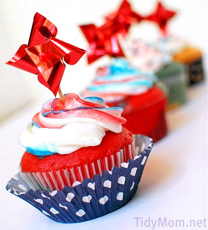 Red, White and Blue Cupcakes with Tie-Dye Frosting