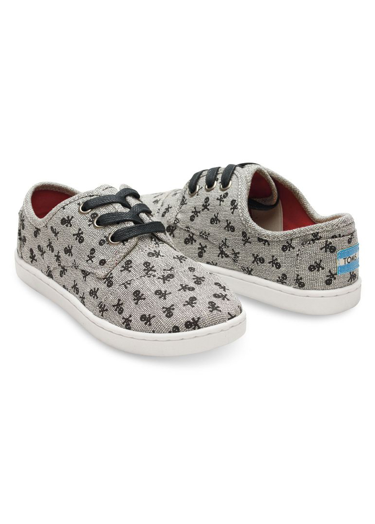 Toms Grey Canvas Skulls Youth Paseos