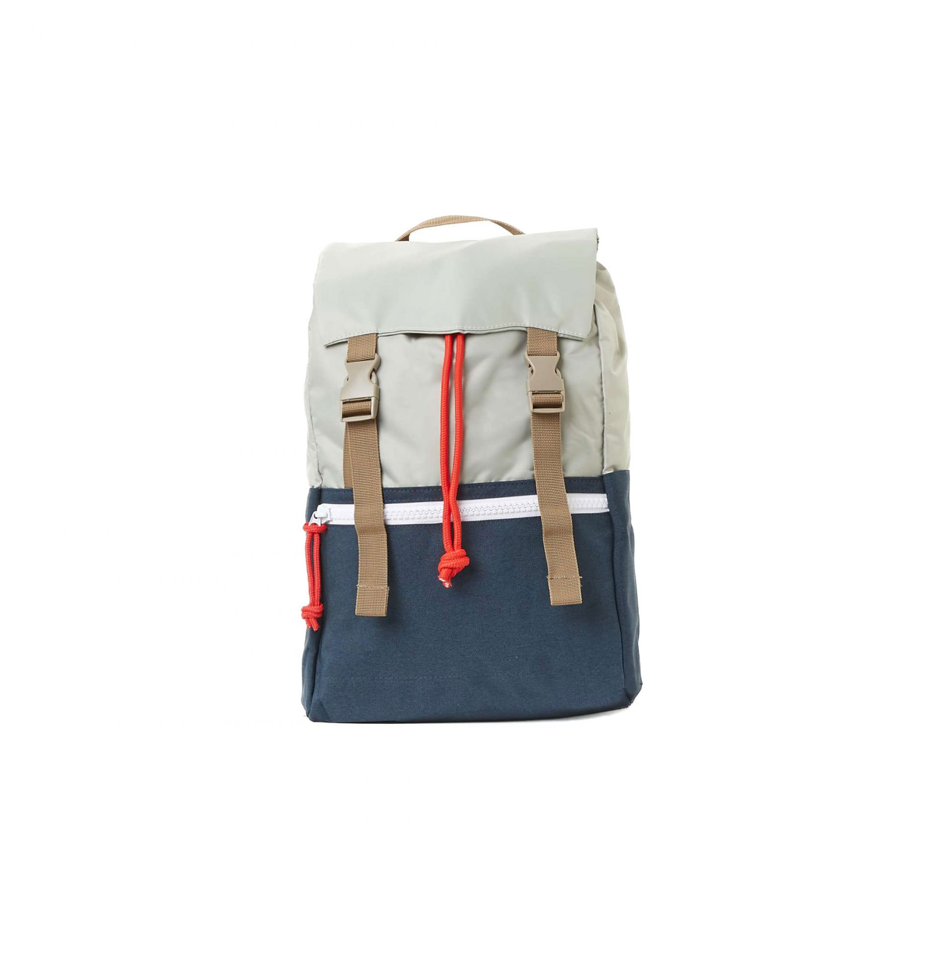 Blue and Light Grey Flat Top Backpack