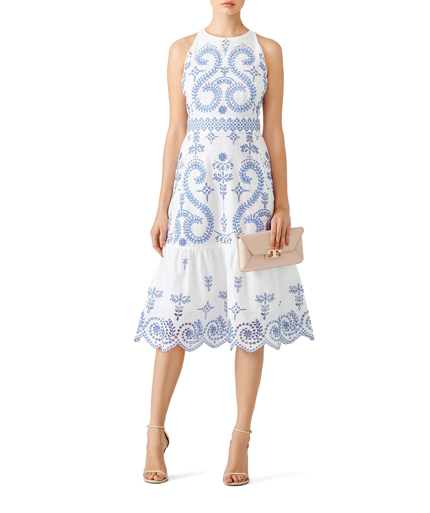 Tory Burch Floral Mariana Dress on model