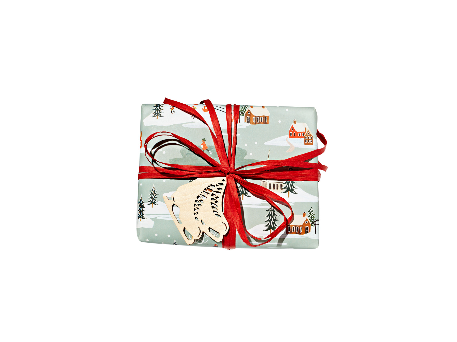 Traditional: Holiday Snow Scene-Wrapped Gift (1218RAP)