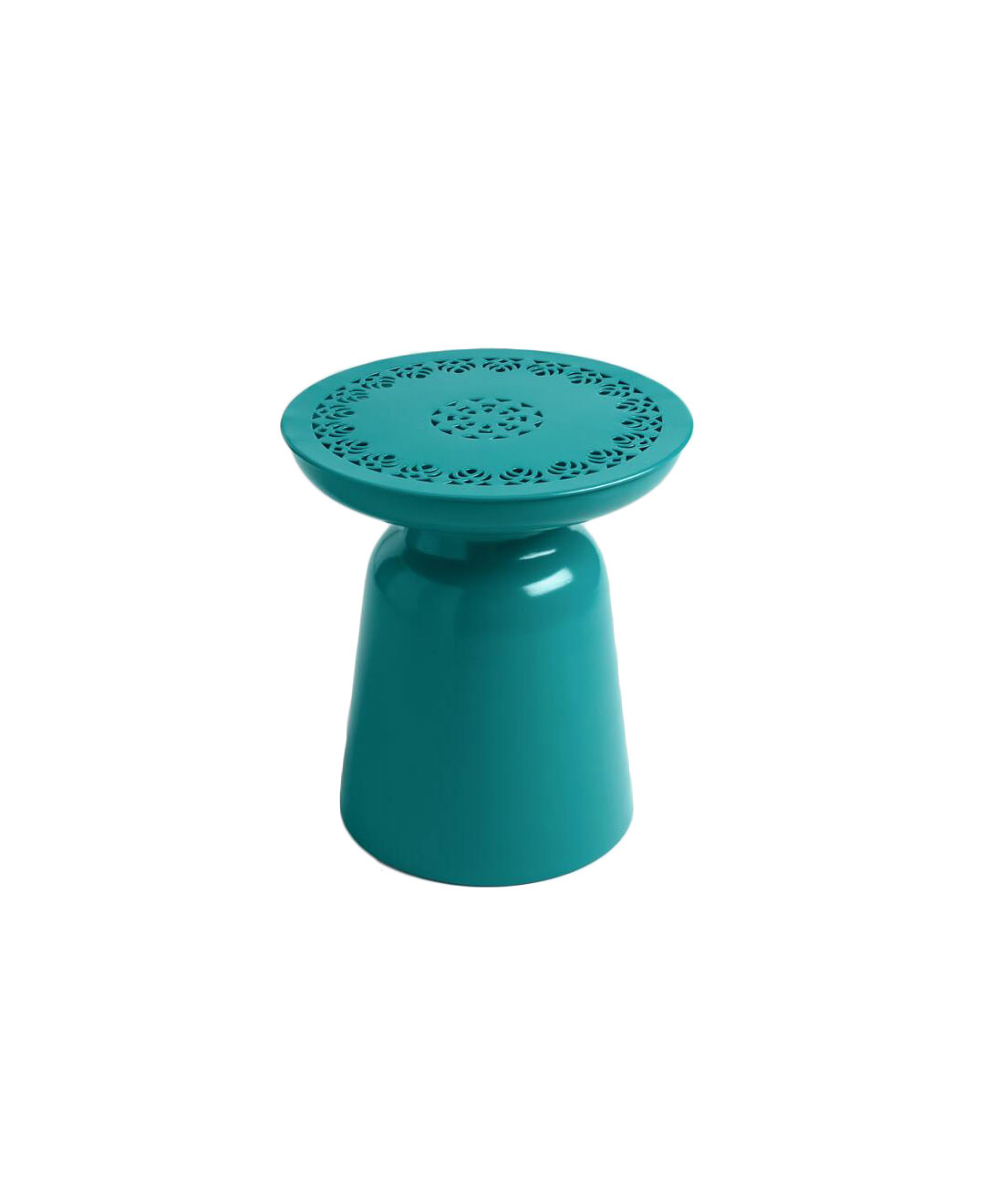 Turquoise Punched Metal Dimitri Drum Stool