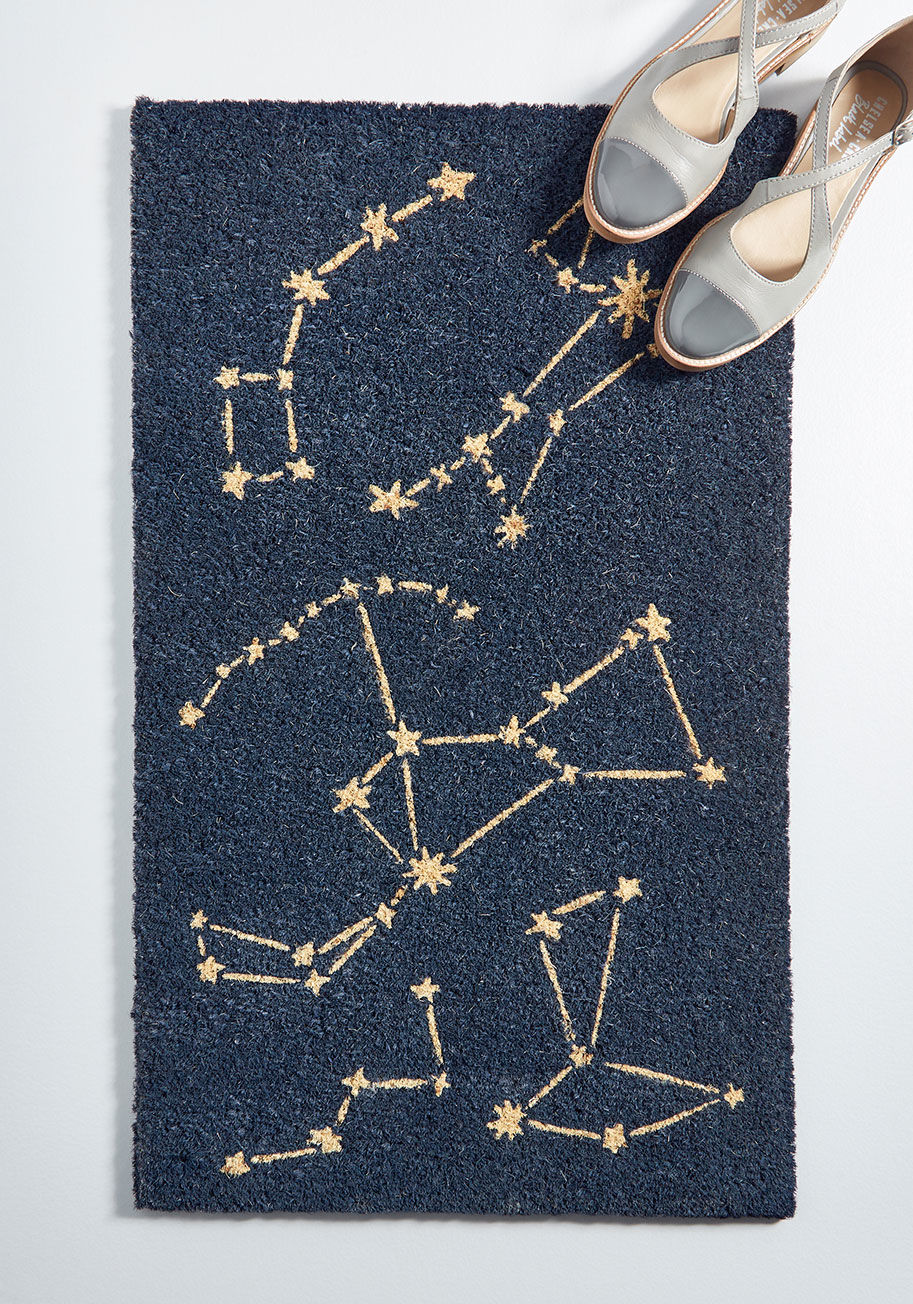 Unique Home Decor Shops, ModCloth blue constellation doormat