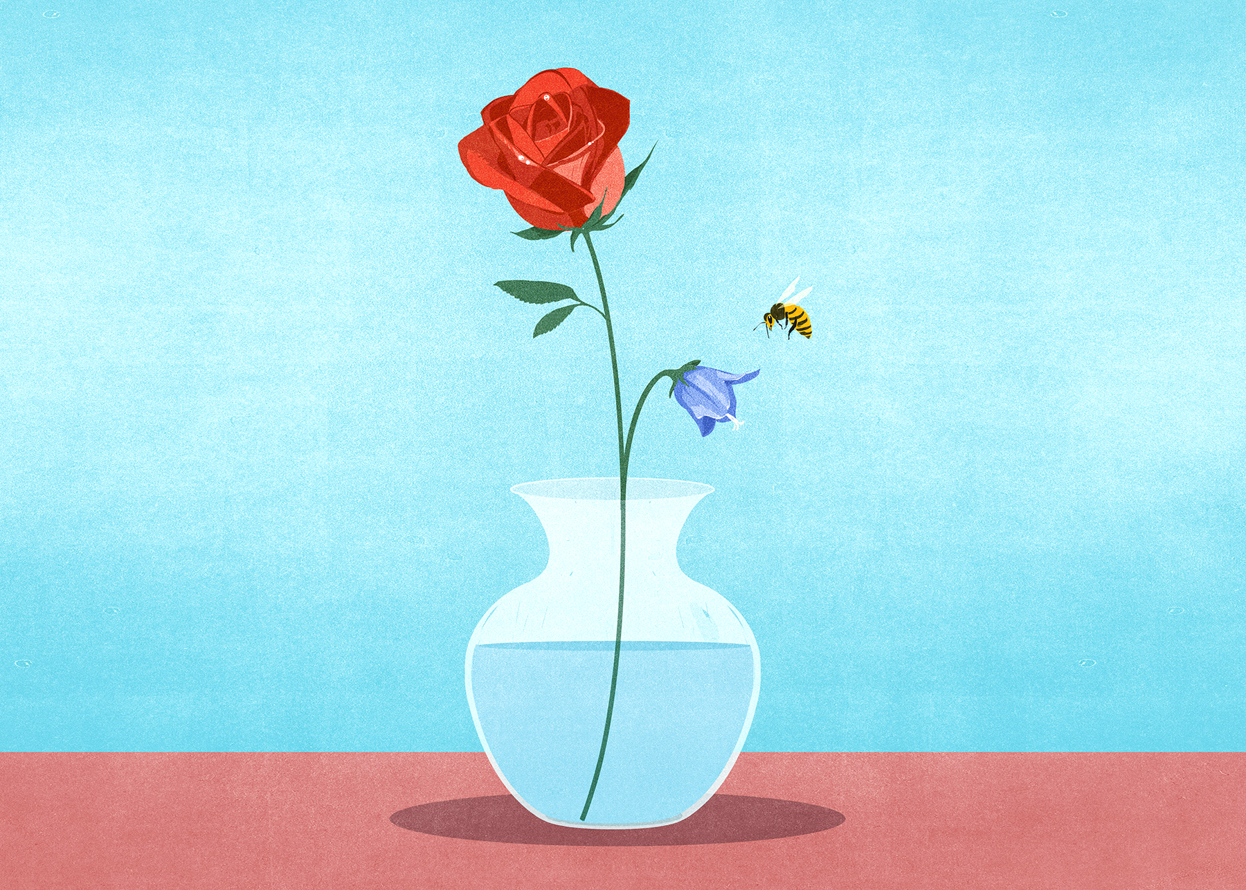 Illustration: vase with flowers and bee