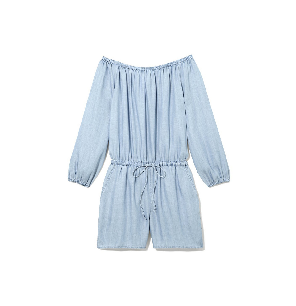 off-shoulder-drawstring-waist-romper
