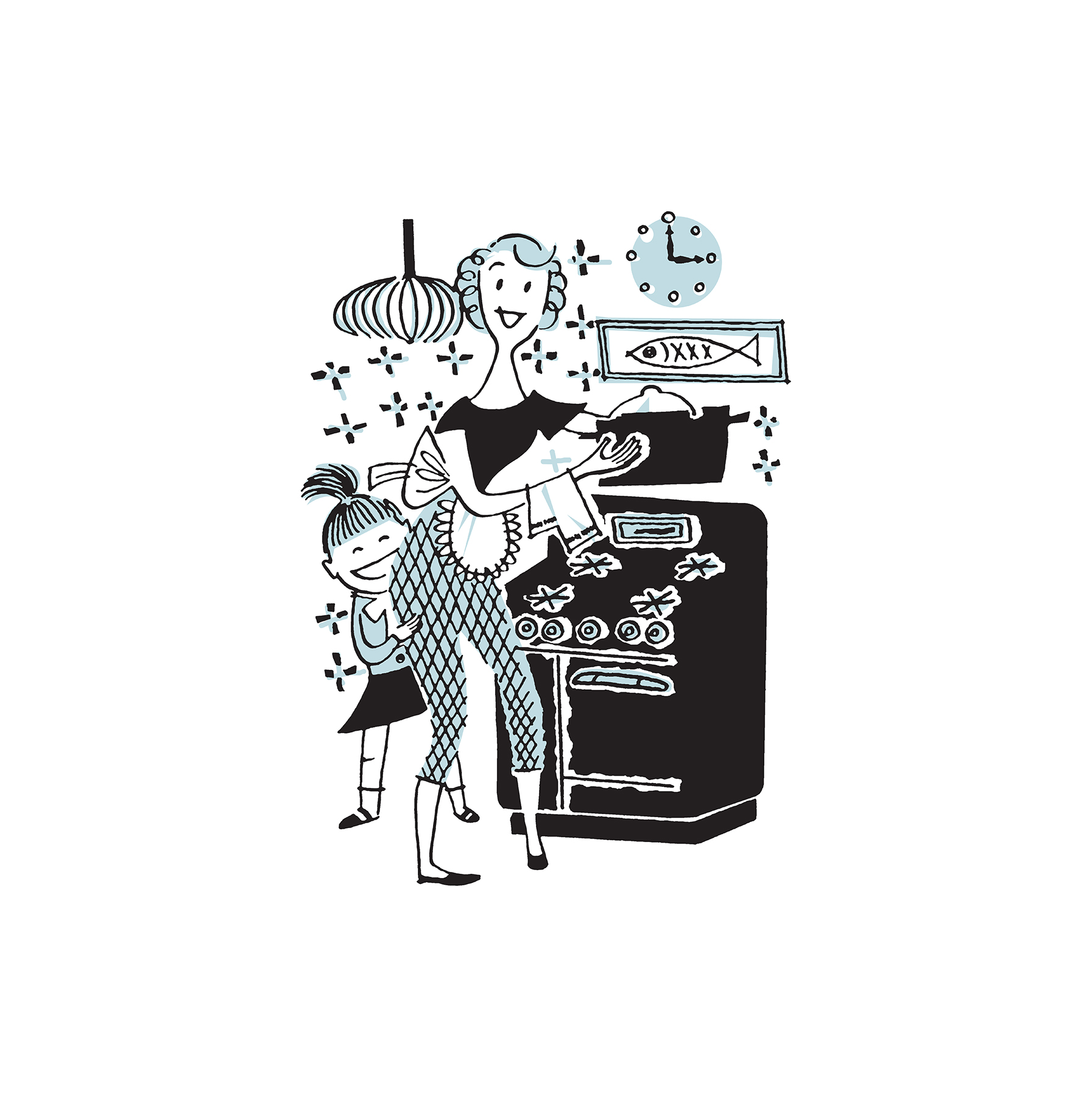 Illustration: mom and daughter in kitchen