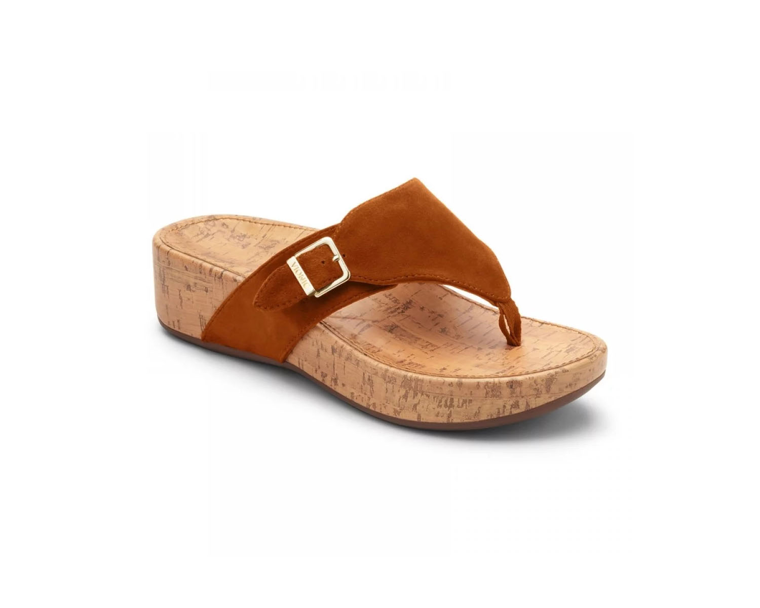 It's time to upgrade your ordinary flip flops. This pair features a cushioned, cork sole with arch support and an adjustable suede upper in rich caramel (shown), red, or black.