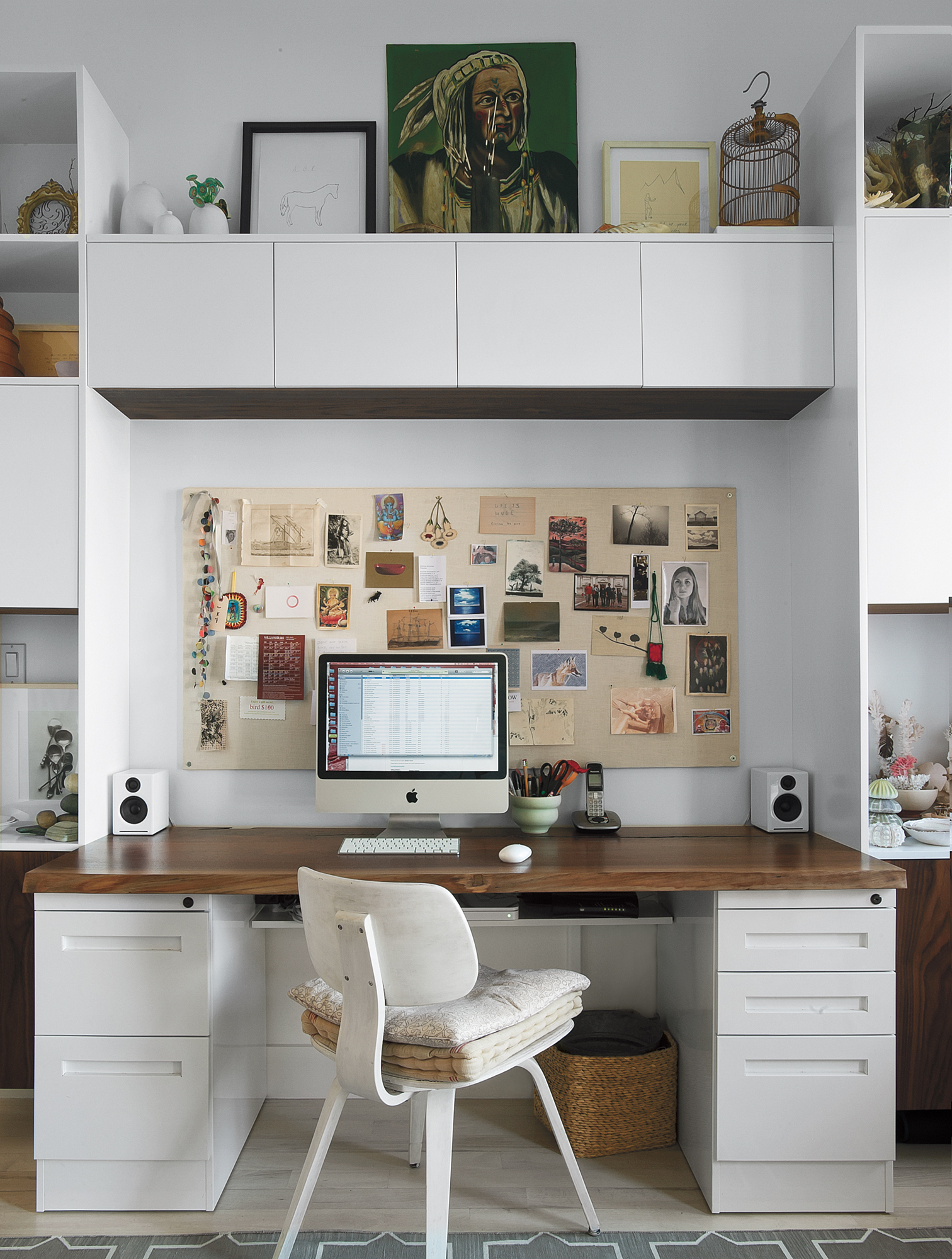 Home office with hardwood desk, collage bulletin board, white custom cabinets (NEW)